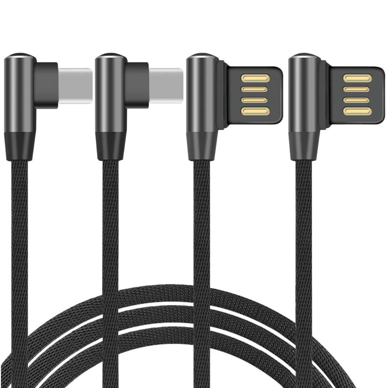 YooGoal - Cable Codo Tipo C (2 Unidades, Doble 90 Grados y Cable USB C de Doble Cara